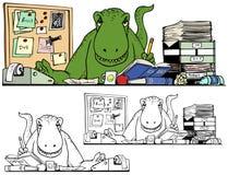 Criatura del dinosaurio en la oficina Foto de archivo libre de regalías