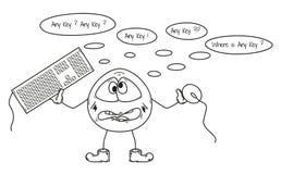 Criatura engraçada e algum problema chave, esboço Imagens de Stock
