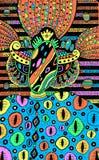 Criatura extraterrestre - dibujo colrful fantástico surrealista Ejemplo psicod?lico dibujado mano Ilustraciones del vector libre illustration