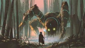 Criatura legendaria del bosque oscuro ilustración del vector