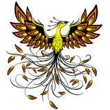 Criatura mítica Logo Tattoo Style Vector Illustration de Phoenix aislado en blanco ilustración del vector