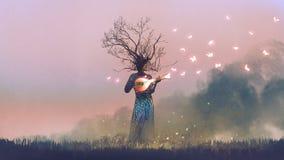 Criatura que joga o instrumento mágico da corda do banjo ilustração stock