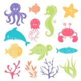 Criaturas bonitos da vida marinha ilustração stock