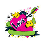 Criaturas bonitos de Kawaii com corações e ilustração do amor Pode ser usado como uma etiqueta ou um cartão Imagens de Stock Royalty Free