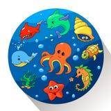 Criaturas bonitos do mar ajustadas Ilustração do vetor Imagens de Stock Royalty Free