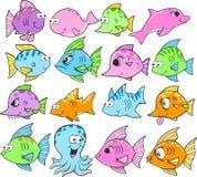Criaturas bonitos do oceano ajustadas ilustração do vetor