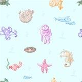 Criaturas del mar de la historieta Imágenes de archivo libres de regalías