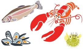 Criaturas del mar fijadas Imagenes de archivo