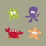Criaturas del mar fijadas Imágenes de archivo libres de regalías