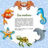 Criaturas del mar que forman un marco Imagenes de archivo