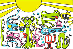 Criaturas divertidas stock de ilustración