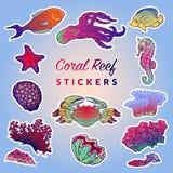 Criaturas do mar ajustadas pintado Fotografia de Stock Royalty Free