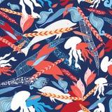 Criaturas do mar do teste padrão ilustração stock