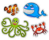 Criaturas do mar dos desenhos animados Fotos de Stock Royalty Free