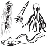 Criaturas estilizados do mar Fotografia de Stock Royalty Free