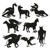 Criaturas mitológicas gregas animais da silhueta preta ajustada ilustração stock