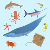 Criaturas simples dos animais bonitos do oceano Polvo, peixe dos desenhos animados do mar do tubarão Vetor ilustração royalty free