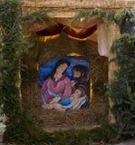 Crib. Nativity scene in a Christmas market Royalty Free Stock Image
