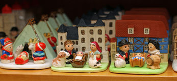 Crib  from around the world in religious goods store at Christma Stock Photo