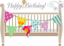 Crib with bright festive flags. Design for greeting card. Illustration Royalty Free Stock Photos