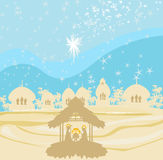 Crib brown silhouettes of landscape collage Royalty Free Stock Images