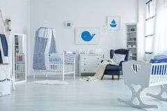 Crib with canopy stock photography