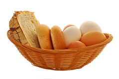 Crib with easter eggs. Basket with a easter eggs and bread Royalty Free Stock Image