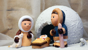 Crib with the Eskimos to the north pole and a ice igloo Royalty Free Stock Image