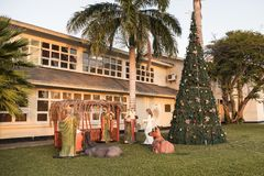 Crib figurines and Christmas tree in Oranjestad, Aruba, Caribbean Sea royalty free stock photos