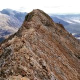 Crib Goch. The most dangerous and exhilarating walks to get to Snowdon North Wales royalty free stock photo