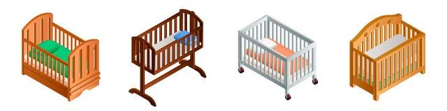 Crib icon set, isometric style vector illustration