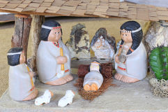 Crib of Latin America with baby Jesus and the holy family in the Royalty Free Stock Images