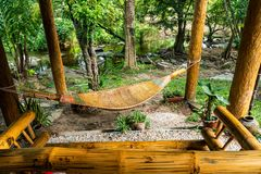 Bamboo crib for relax stock photography