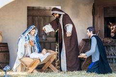 Crib nativity scene in San Pietro. Baby Jesus with Madonna. Royalty Free Stock Photography