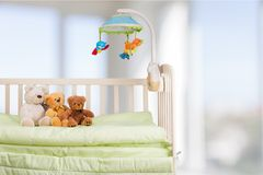 Crib. Nursery Domestic Room Bedroom Toy Playroom Bed Stock Photos