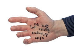 Crib written on a student's hand. Crib with some physics formulas written on a student's hand with marker Royalty Free Stock Image