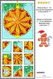 ¿Criba visual del ornamento de la Navidad - qué no pertenece? Imagen de archivo