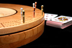 Cribbage. Three handed cribbage game in progress Royalty Free Stock Images