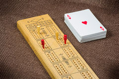 Cribbage Board and Cards Stock Image