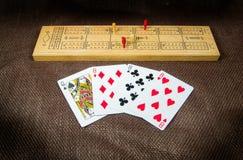 Cribbage karty i deska Obraz Royalty Free