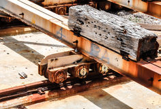 Cribbing and Metal Beams: Cargo Port Stock Photo