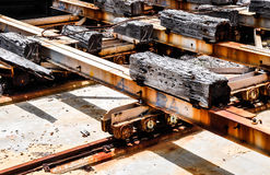 Cribbing and Metal Beams on Rails: Cargo Port Stock Image