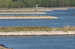 Cribs in the river of Waal in Holland Royalty Free Stock Image