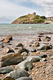 Criccieth beach and castle in North Wales Stock Photography
