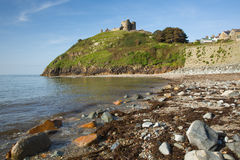 Criccieth beach Wales UK historic coastal town in summer with blue sky on a beautiful day Stock Photography