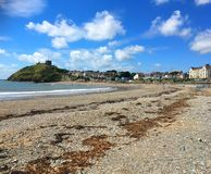 Criccieth castle and beach, North Wales. Stock Photography