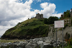 Criccieth castle from the coast line Royalty Free Stock Images
