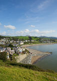Criccieth North Wales UK town coast and beach in summer Stock Images