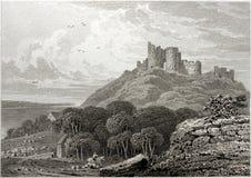 Criccieth slott arkivfoto