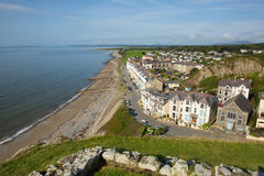 Criccieth Wales UK coast and beach in summer with blue sky on a beautiful day Stock Image
